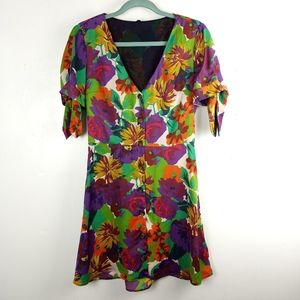Zara Colorful Floral Button Down Slip Dress, Sz M